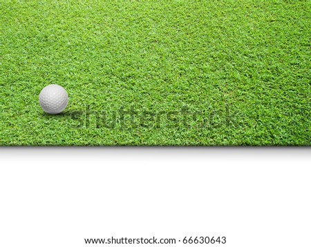 White Golf ball on Green Grass isolated for web page background