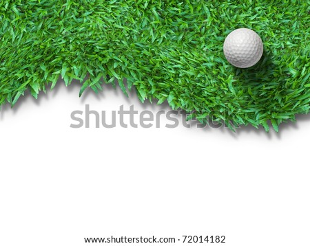 White golf ball on green grass isolated on white with shadow horizontal background for web page - stock photo