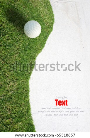 white Golf ball on green grass left side background
