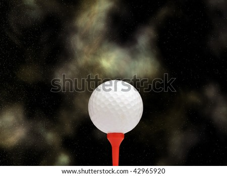 White golf ball on red tee against star background