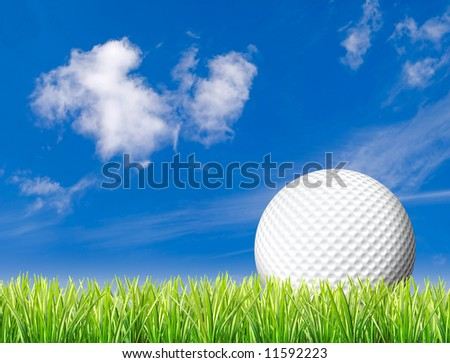 White golf ball with space for text or logo sitting in tall grass set against blue sky with few clouds