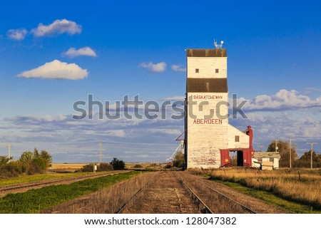 White grain elevator in Aberdeen, Saskatchewan.