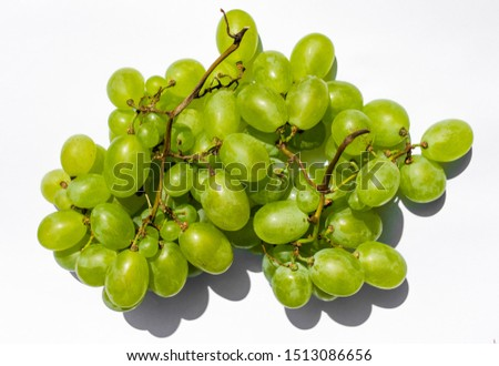 white grapes, white grapes on a white background, bunch of white grapes #1513086656