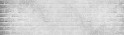 White gray light damaged rustic brick wall brickwork stonework masonry texture background banner panorama