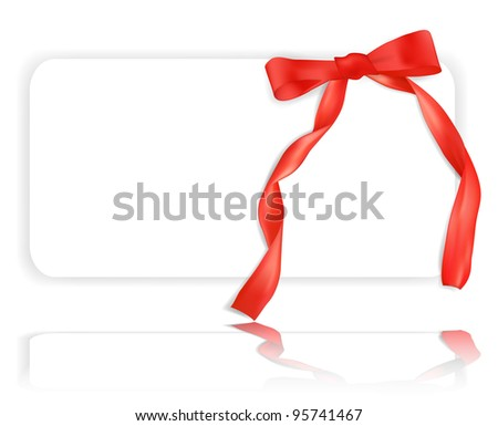 White greeting card with red ribbon and beautiful bow
