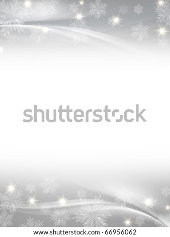white grey christmas background with crystal snowflakes, stars and curves