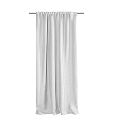 White grey curtains Isolated on a white background, front view. Photo ready for mock up.
