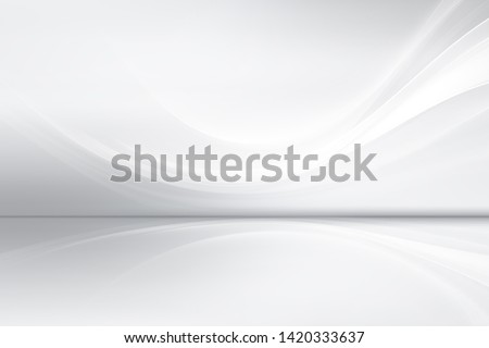White grey perspective flow waves background. Abstract creative interior. Modern business style.