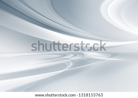 White grey perspective flow waves background. Fantasy futuristic sci-fi design. Abstract perspective creative graphic for web. Modern business style.