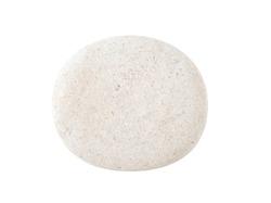 White grey round ball stone pebbles, isolated on white background