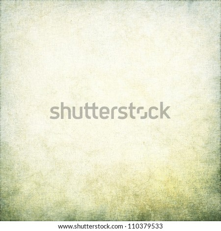 white grunge background with old linen texture and green moss vignette