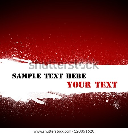 White grunge banner with copy space on abstract red background.