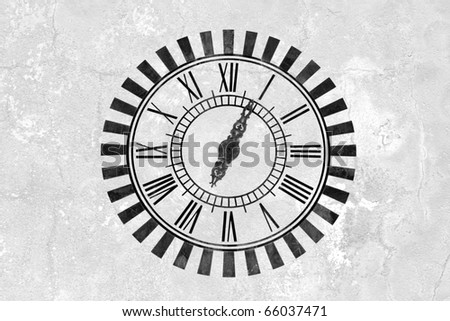 white grungy wall with clock - stock photo
