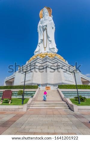 White Guan Yin statue in Nanshan Buddhist Cultural Park, Sanya, Hainan Island, China.