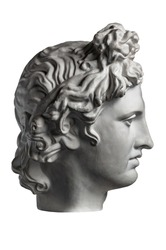 White gypsum copy of ancient statue of Apollo God of Sun head for artists on a white background. Plaster sculpture of man face. Renaissance epoch. Portrait.