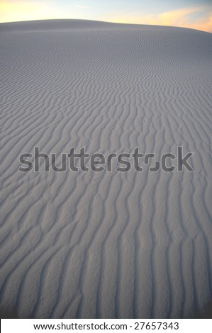 White gypsum dunes just after sunset in the desert at the White Sands National Monument in New Mexico