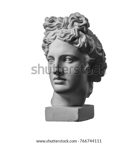 White gypsum statue of Apollo's head