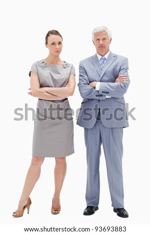 White hair man posing with woman crossing their arms against white background