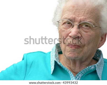 White-haired woman isolated on white background.