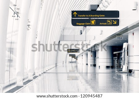 White hall at airport - modern architecture