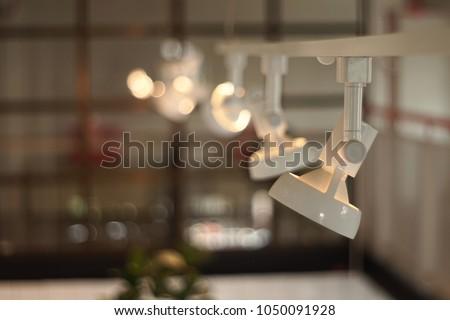 White Hanging spotlight Soft focus.