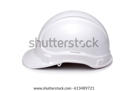 White hardhat viewed from side and isolate on white. #613489721