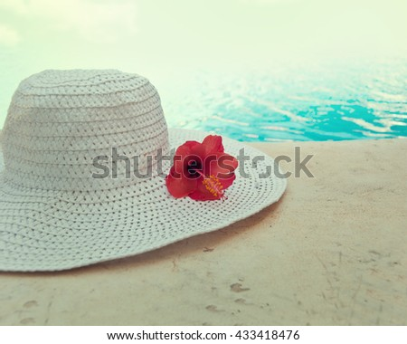 White hat on pool background. #433418476