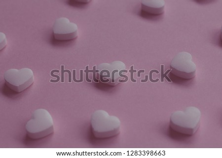 White heart candy pink background valentine love sweet closeup Stockfoto ©