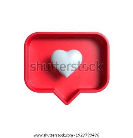 """white heart inside of a red pin on a white background. """"like"""" symbol notification. 3d render"""
