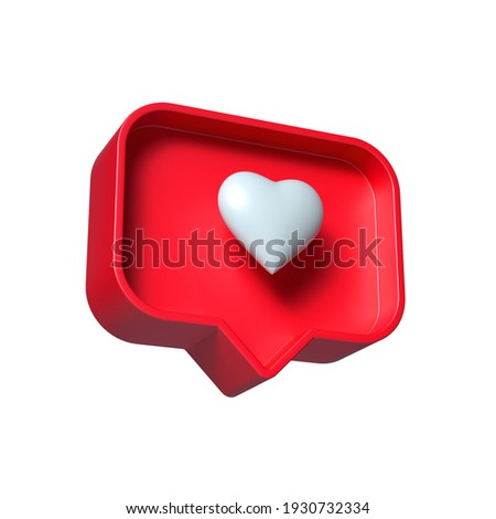 white heart inside of a red pin on a white background. 'like' symbol notification. 3d render Foto d'archivio ©