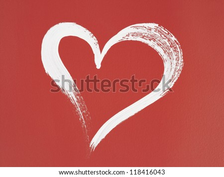 White heart painted on red background. Brush stroke texture. - stock