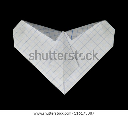 White heart paper made. Isolated heart