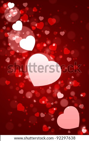 white hearts and  Red Valentine's day background