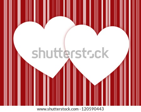 White Hearts with Red Stripes - stock photo