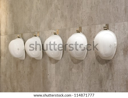 White helmets in a row