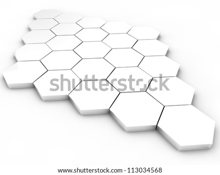 white hexagons over white background