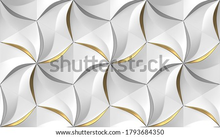White hexagons stylized in the form of decorative convex modules resembling flowers with silver and golden leaves. 3d illustration. High quality image for print and web.
