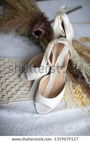 White high heels with macrame and wheat and floral accents #1359679127