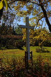 White holy christian cross standing up on the countryside of Fond du Lac, Wisconsin.