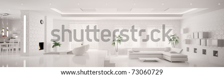 White home interior of modern apartment living room kitchen panorama 3d render - stock photo