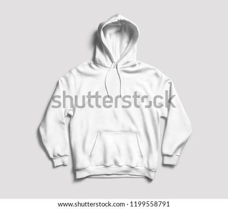 White hoodie front view. 3D rendering