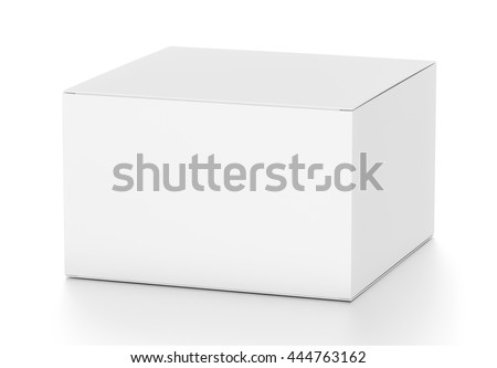 White horizontal rectangle blank box from top side far angle. 3D illustration isolated on white background.