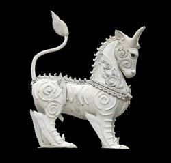 White Horse Pegasus Statue Isolated on Black