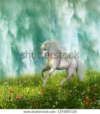 Stock Photo White horse running through the prairie and waterfall in the background. 3D rendering