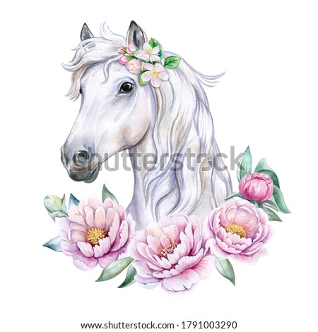 White Horse, Unicorn with a wreath of flowers pink Peonies. Portrite. Watercolor. Digital art. Illustration. Template. Clipart. Flower arch, frame. Boho