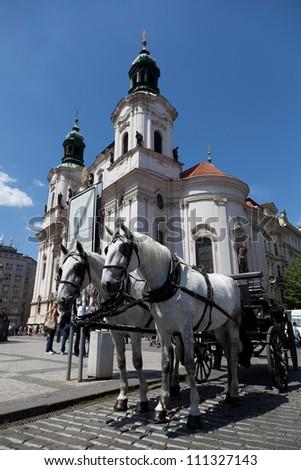 White horse, white church