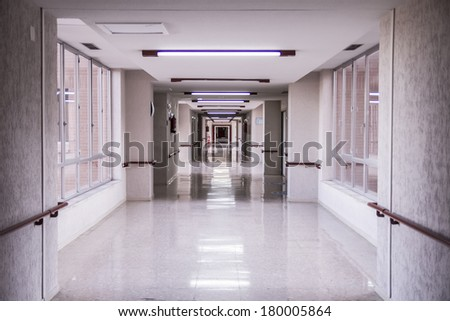 white hospital corridor, clean and hygienic space