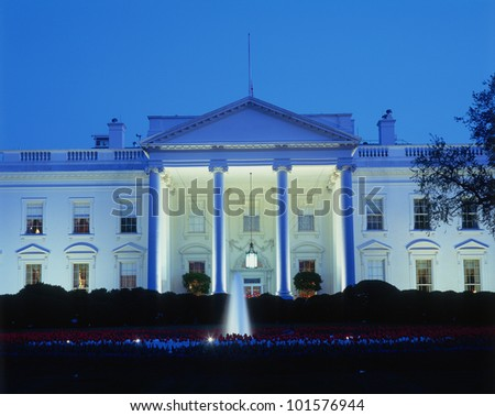 White House in evening, Washington, DC
