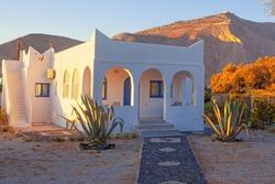 White house in Perissa, Santorini island in Greece