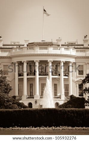 White House in sepia - Washington DC United States